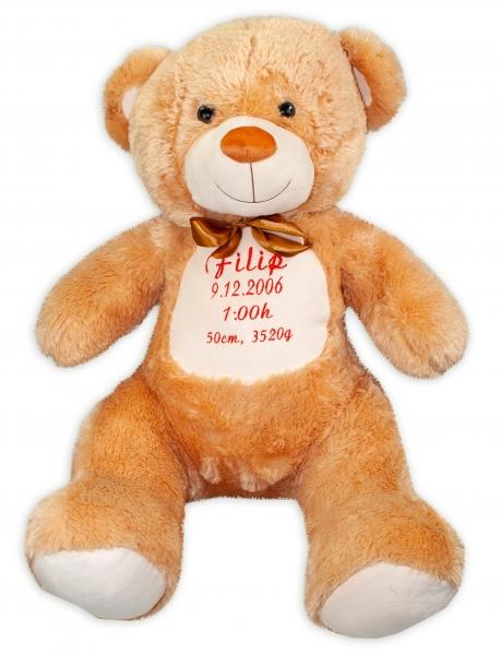 Baby Nellys Plyšový medveď 100 cm s výšivkou na želanie - sv. hnedý