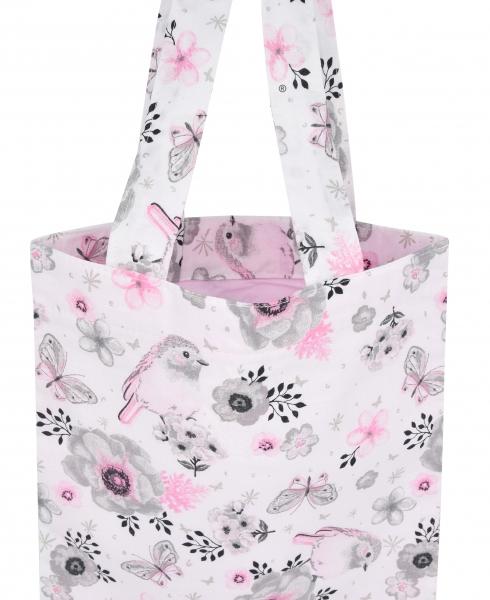 Bavlnená taška Baby Nellys Maxi pre mamy - Vtáčiky ružové