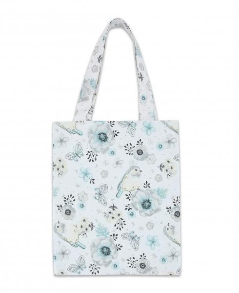 Bavlnená taška Baby Nellys Mini pre deti - Vtáčiky mätové