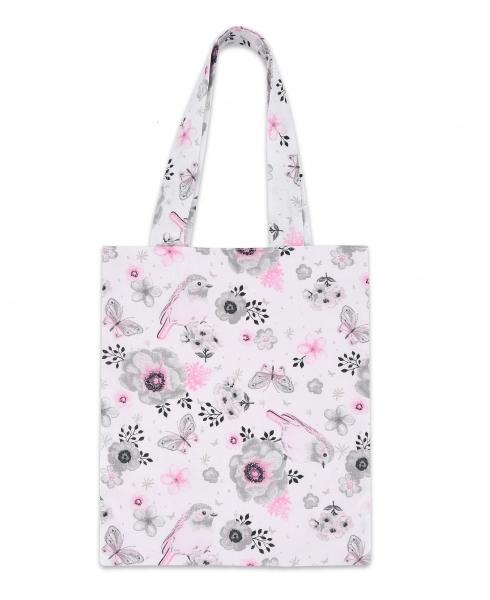 Bavlnená taška Baby Nellys Mini pre deti - Vtáčiky ružoví