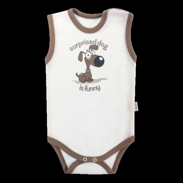 Dojčenské body na ramienka Mamatti Tlapka - béžová/hnedá, veľ. 86-86 (12-18m)