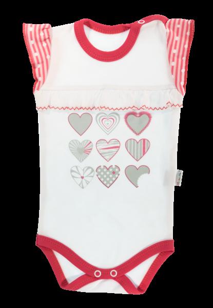 Dojčenské body na ramienka Mamatti Love Girl - biela/červená, veľ. 68