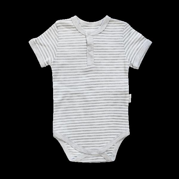 Dojčenské body / polo Mamatti krátky rukáv Gentleman - sivé