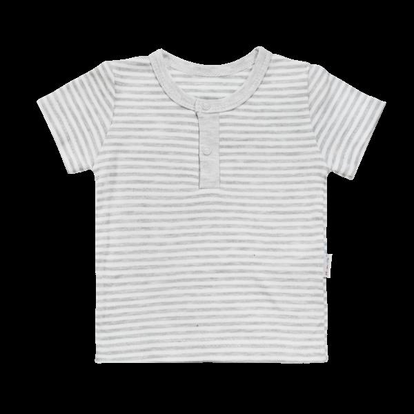 Bavlnené Polo tričko Mamatti Gentleman krátky rukáv - sivé, veľ. 98
