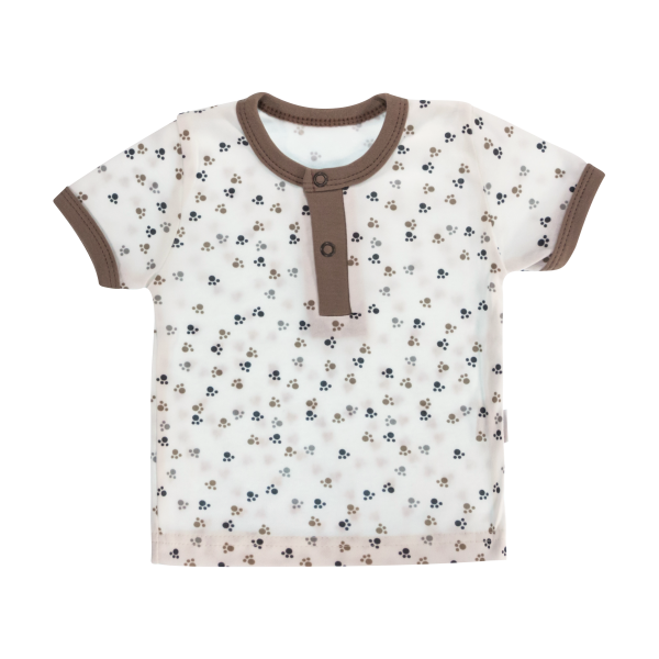 Bavlnené Polo tričko Mamatti Tlapka krátky rukáv - béžové/hnedé, veľ. 86-86 (12-18m)