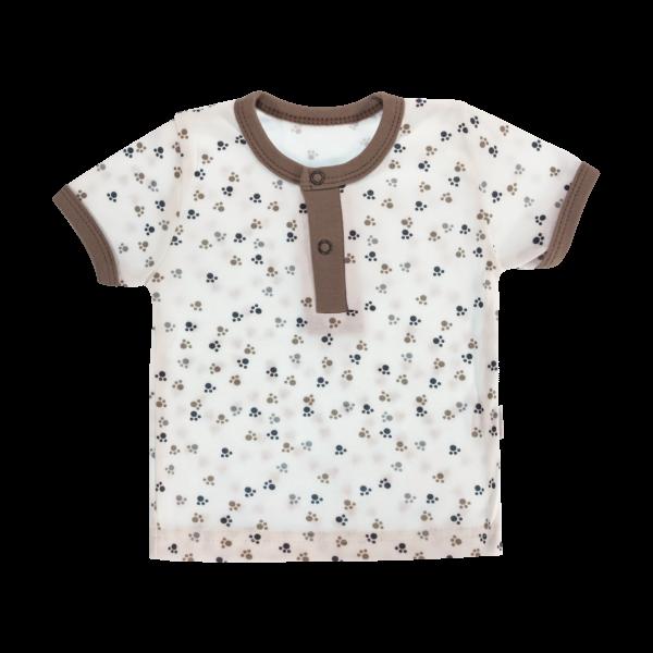 Bavlnené Polo tričko Mamatti Tlapka krátky rukáv - béžové/hnedé, veľ. 98-98 (24-36m)