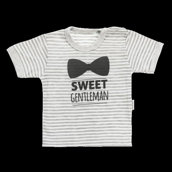 Bavlnené tričko Mamatti Gentleman krátky rukáv - sivé, veľ. 86