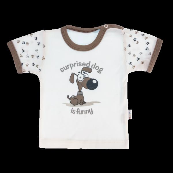 Bavlnené tričko Mamatti Tlapka krátky rukáv - béžové/hnedé, veľ. 86