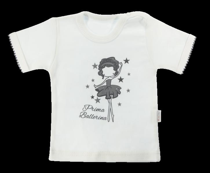 Bavlnené tričko Mamatti Baletka krátky rukáv - smetanové, veľ. 98