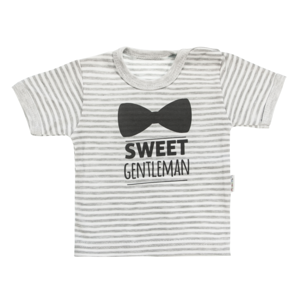 Bavlnené tričko Mamatti Gentleman krátky rukáv - sivé, veľ. 98-#Velikost koj. oblečení;98 (24-36m)