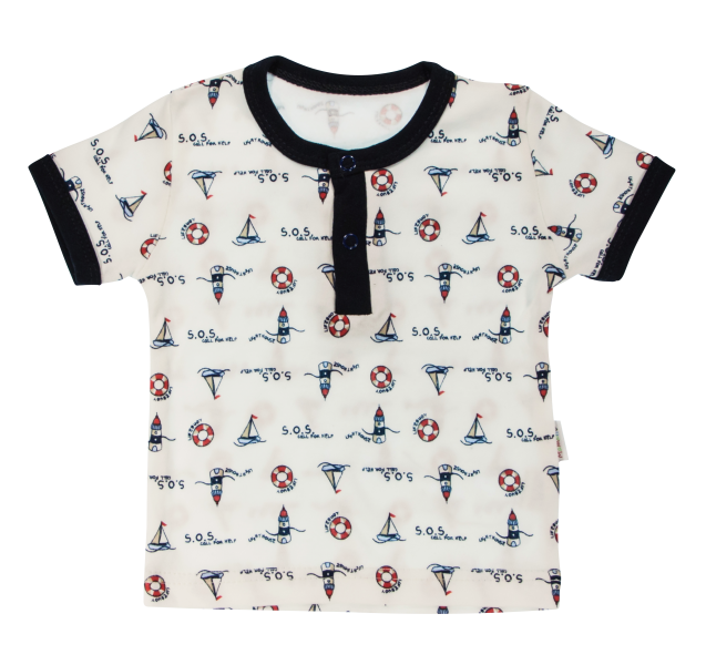 Bavlnené Polo tričko Mamatti Maják krátky rukáv - granátové