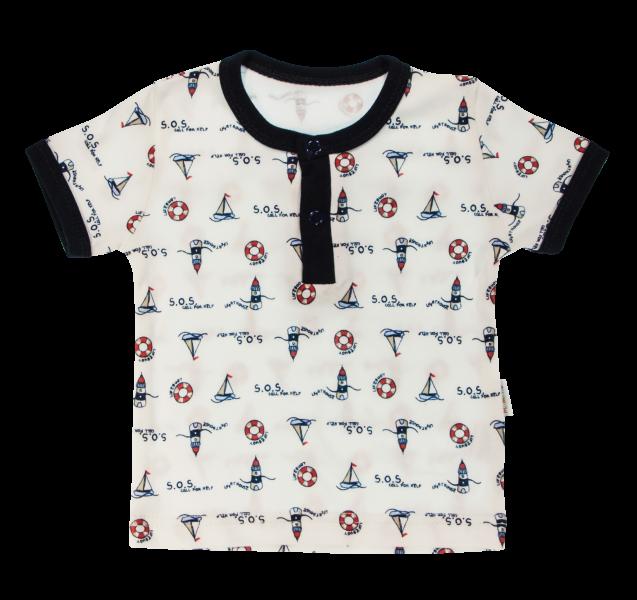 Bavlnené Polo tričko Mamatti Maják krátky rukáv - granátové, veľ. 80