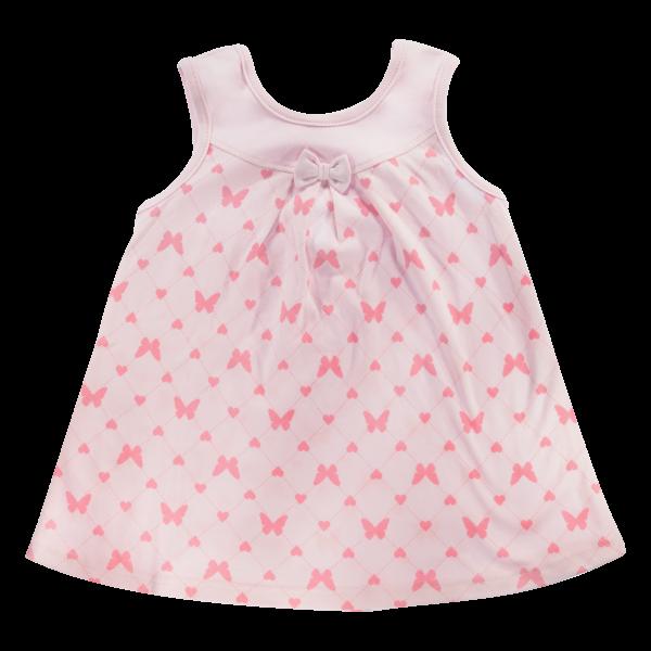 Bavlněné šatičky Mamatti na ramínka Motýlek srdíčko - růžové, vel. 104-104