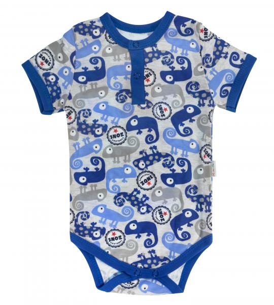 Dojčenské body / polo Mamatti krátky rukáv Chameleon - modrá/sivá, veľ. 80