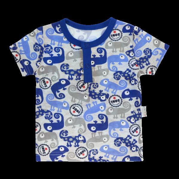 Bavlnené Polo tričko Mamatti Chameleon krátky rukáv - modré/sivé, veľ. 98