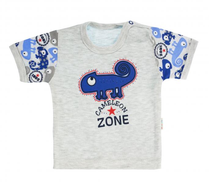 Bavlnené tričko Mamatti Chameleon krátky rukáv - sivé/modré, veľ. 86