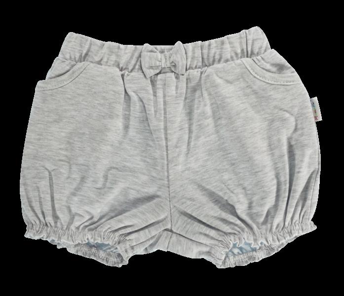 Dojčenské bavlnené nohavičky, kraťasky s mašľu Mamatti Bubble Boo - sivé, veľ. 86-86 (12-18m)