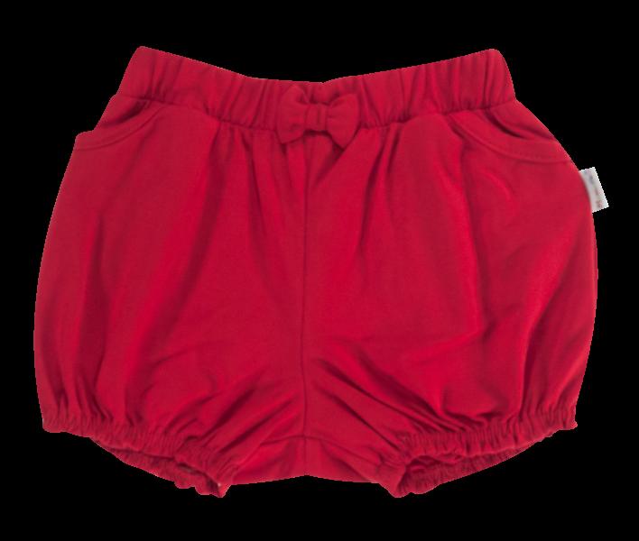 Dojčenské bavlnené nohavičky, kraťasky s mašľu Mamatti Love Girl - červené, veľ. 80