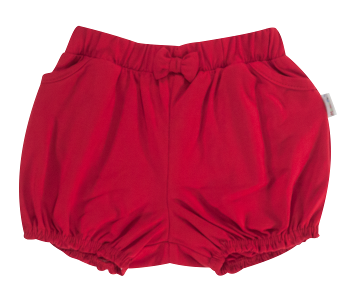 Dojčenské bavlnené nohavičky, kraťasky s mašľu Mamatti Love Girl - červené, veľ. 86-86 (12-18m)