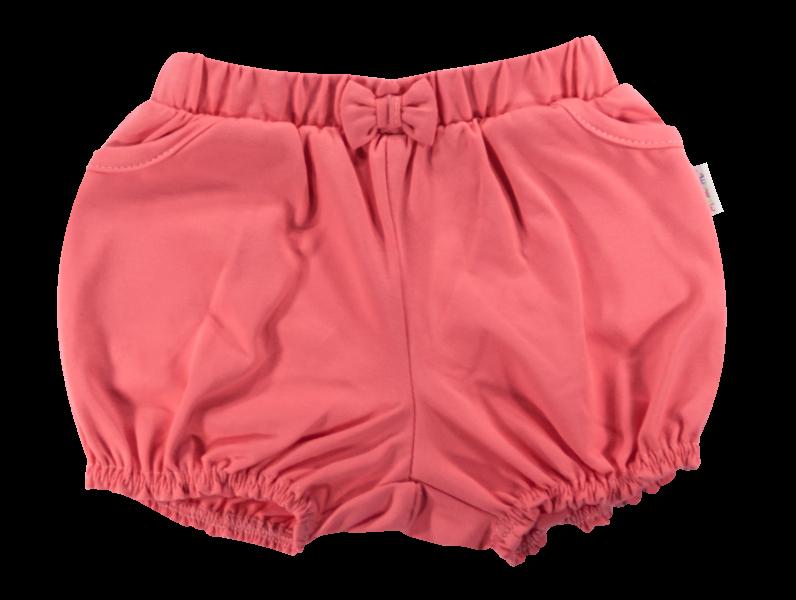 Dojčenské bavlnené nohavičky, kraťasky s mašľu Mamatti Baletka - korálové, vľ. 98-98 (24-36m)