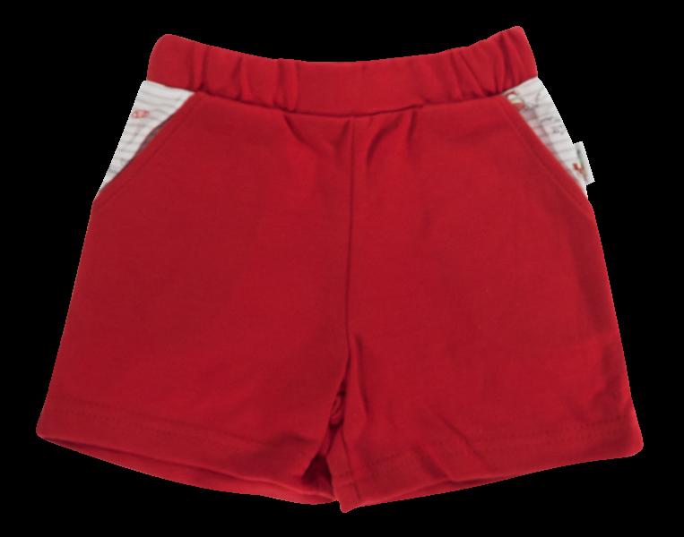 Dojčenské bavlnené nohavičky, kraťasky Mamatti Pirát - červené, veľ. 80