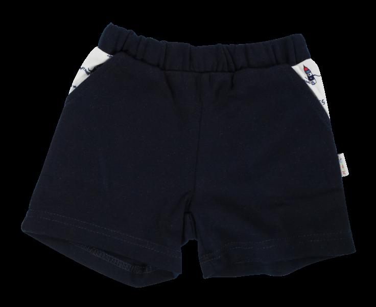 Dojčenské bavlnené nohavičky, kraťasky Mamatti Maják - granátové, veeľ. 86-86 (12-18m)