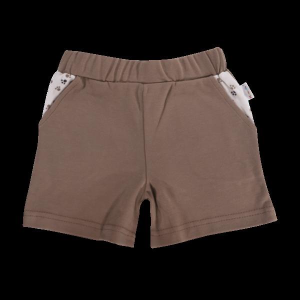 Dojčenské bavlnené nohavičky, kraťasky Mamatti Tlapka - hnedé, veľ. 86-86 (12-18m)