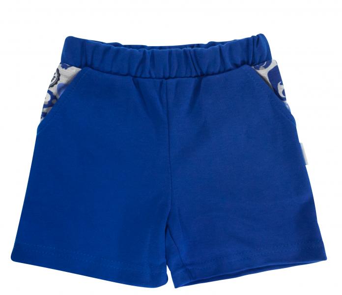 Dojčenské bavlnené nohavičky, kraťasky Mamatti Chameleon - modré, veľ. 80