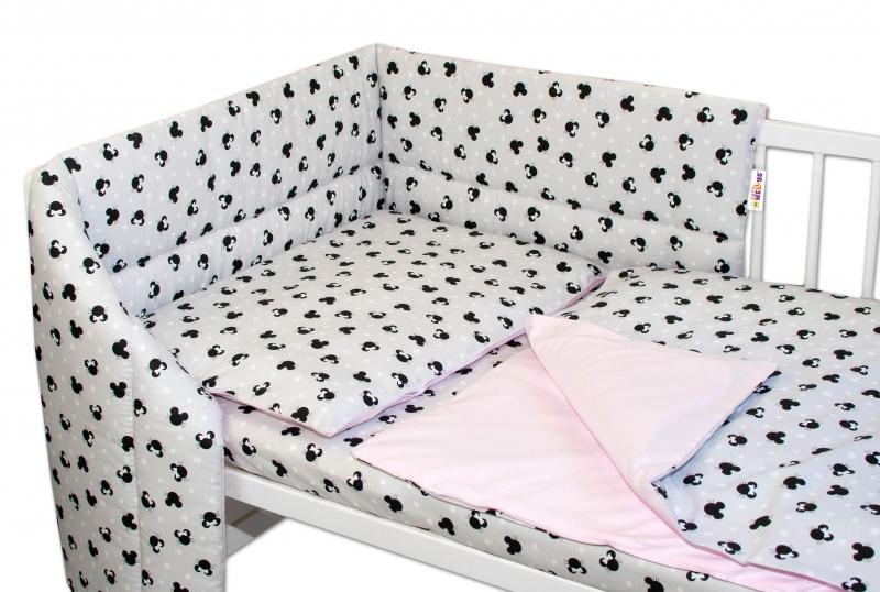 3-dielna sada mantinel s obliečkami Baby Nellys, Minnie, sivá/ružová, 135 x 100