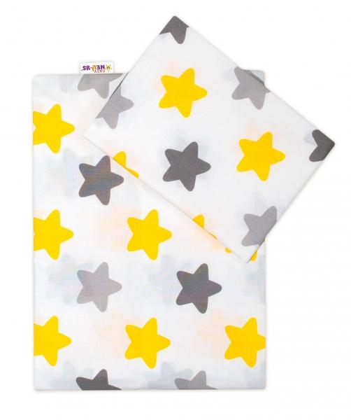 Baby Nellys Bavlnené obliečky 120x90 Farebné hvezdičky - žté/sivé