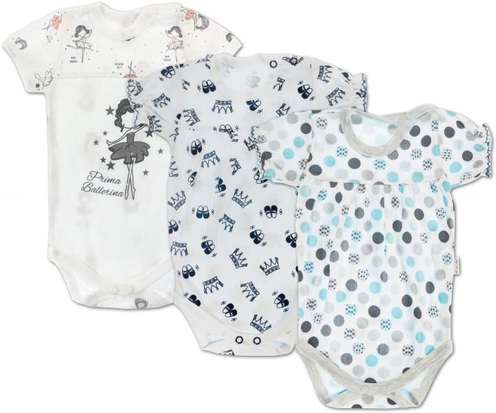Dojčenská dievčenská sada body krátky rukáv Mamatti - 3 ks, vel. 80