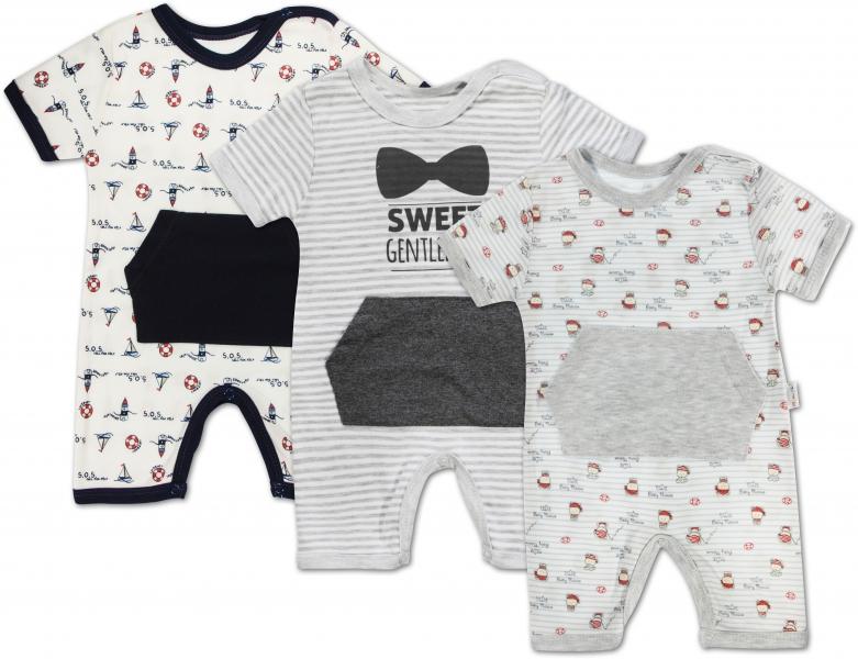 Dojčenské chlapčenské body s nohavičkami Mamatti - 3 ks, veľ. 86