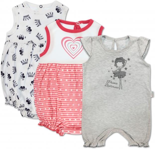 Dojčenské dievčenské body s nohavičkami Mamatti - 3 ks, veľ. 74