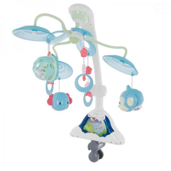 Kolotoč nad postieľku Euro Baby so svetelným projektorom Safari - tyrkysové