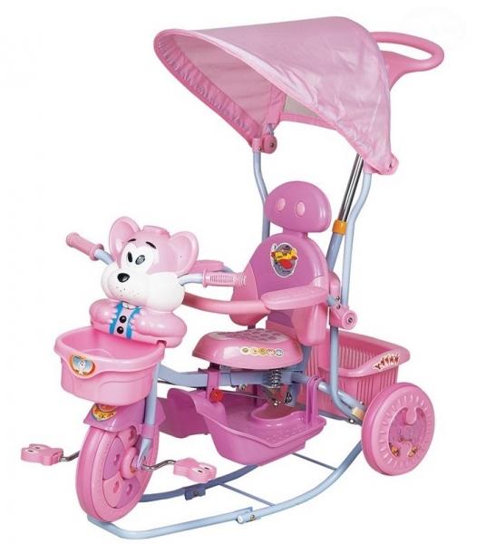 Euro Baby Detská trojkolka s vodiacou tyčou Myška - růžová