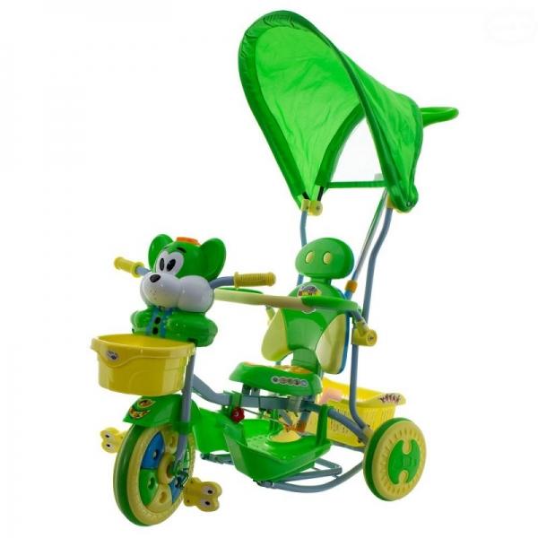 Euro Baby Detská trojkolka s vodiacou tyčou Myška - zelená