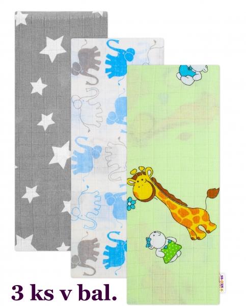 Sada kvalitných bavlnených plienok Baby Nellys, Tetra Lux 70x80cm, Chlapec - 3 kusy