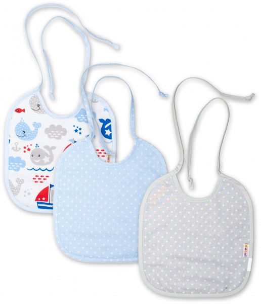 Baby Nellys Detský podbradník obojstranný / dvojvrstvový, súprava 3 ks - modrý/sivý