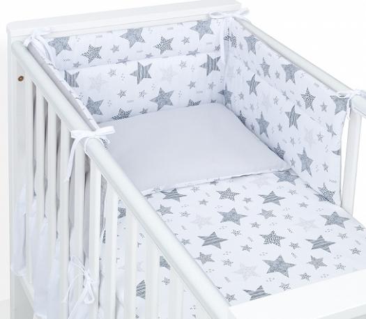Mamo Tato 3-dielny set do postieľky s obojstranným mantinelom - Starmix šedý, 135 x 100