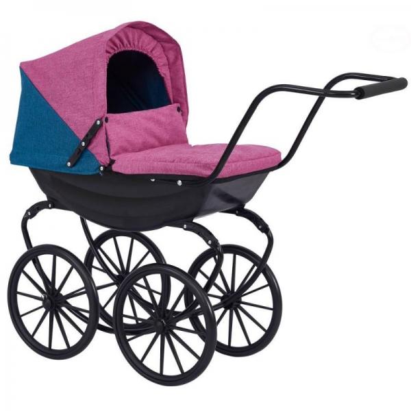 Detský kočík pre bábiky Euro Baby s retro kolesami - fialový