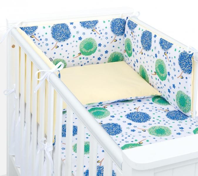 Mamo Tato 3-dielny set do postieľky s mantinelom - Púpavy modré, 135x100 cm