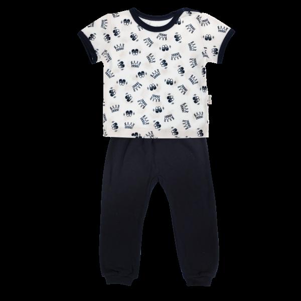 Bavlnené pyžamko Mamatti Princezná - krátký rukáv - granátové, veľ. 86