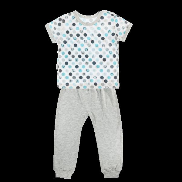 Bavlnené pyžamko Mamatti Bubble Boo - krátký rukáv - sivé/tyrkys, veľ. 104