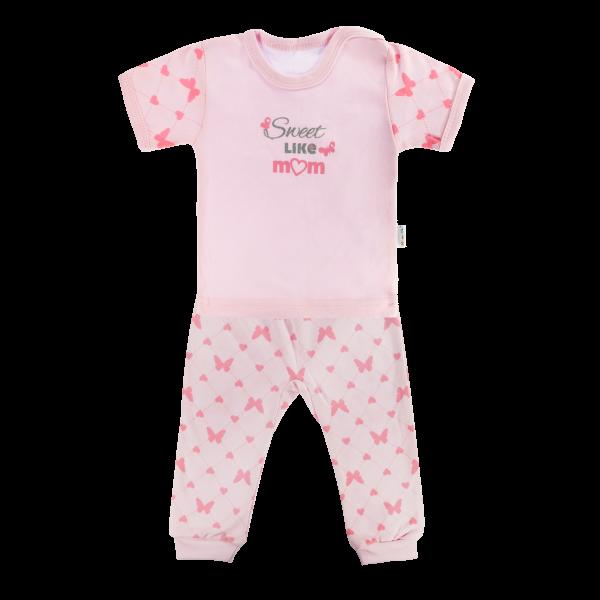 Bavlnené pyžamko Mamatti Motýlik srdiečko - krátký rukáv - ružové