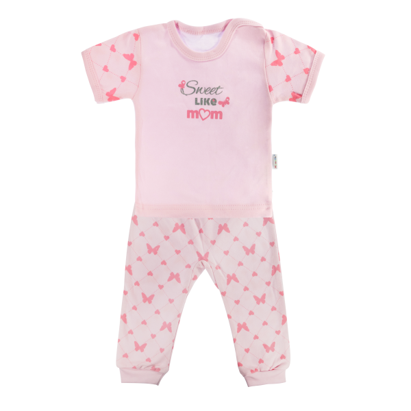 Bavlnené pyžamko Mamatti Motýlik srdiečko - krátky rukáv - ružové, veľ. 110