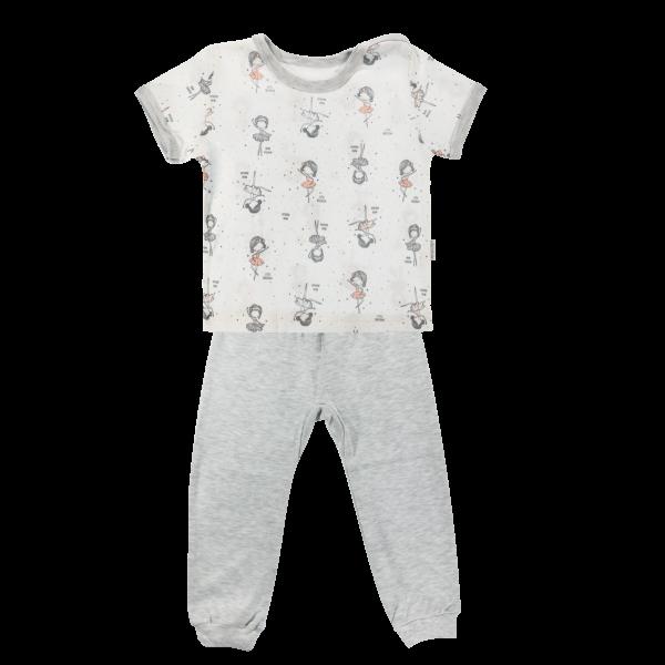 Bavlnené pyžamko Mamatti Baletka - krátky rukáv - smotanové/sivé, veľ. 104