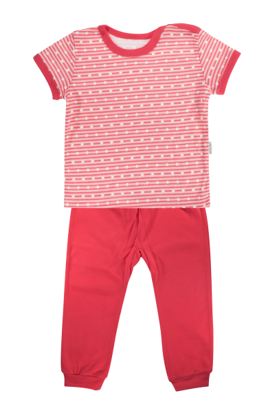 Bavlnené pyžamko Mamatti Love Girl - krátký rukáv - červené