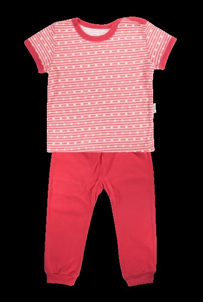 Bavlnené pyžamko Mamatti Love Girl - krátky rukáv - červené, veľ. 92