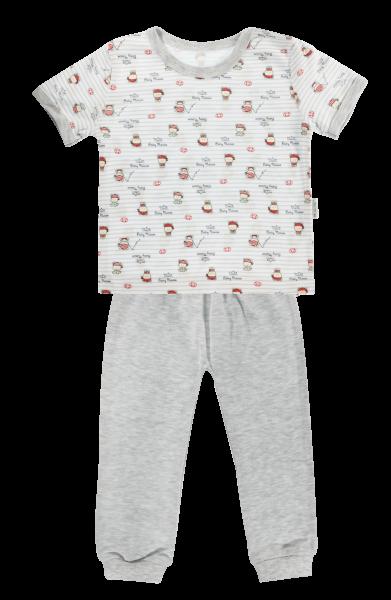 Bavlnené pyžamko Mamatti Pirát - krátký rukáv - sivé
