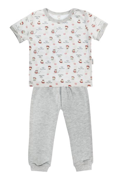Bavlnené pyžamko Mamatti Pirát - krátký rukáv - sivé, veľ. 92-92 (18-24m)